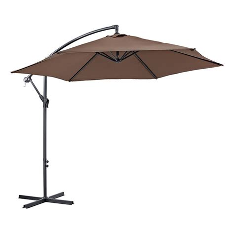 Brown Patio Umbrella Walker Edison Furniture Company Cantaliever 9 Ft Patio Umbrella In Brown Hdm9ctvbr The Home Depot