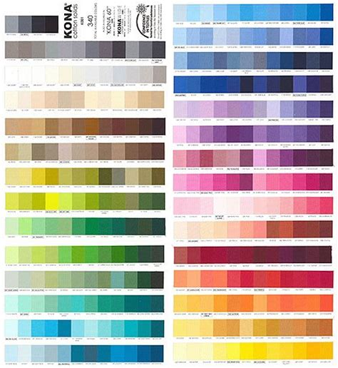 kona cotton color card 37 new colors from www equilter com solid color palette colores