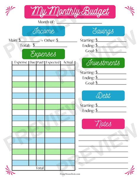 Free Printable Monthly Budget Worksheets