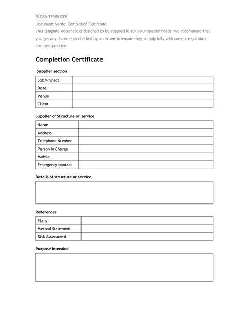 Completion Form Template best photos of completion form template work completion certificate completion form
