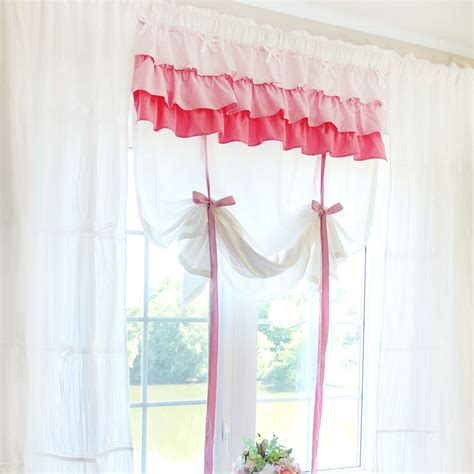 pink tie up curtains shabby chic white ruffled tie up shade