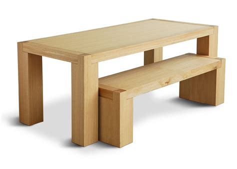 bench tables dining gus modern chunk dining table bench