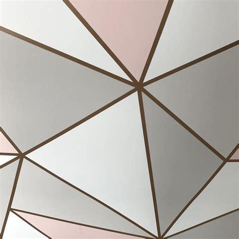 fine decor wallpaper apex geometric rose gold fd