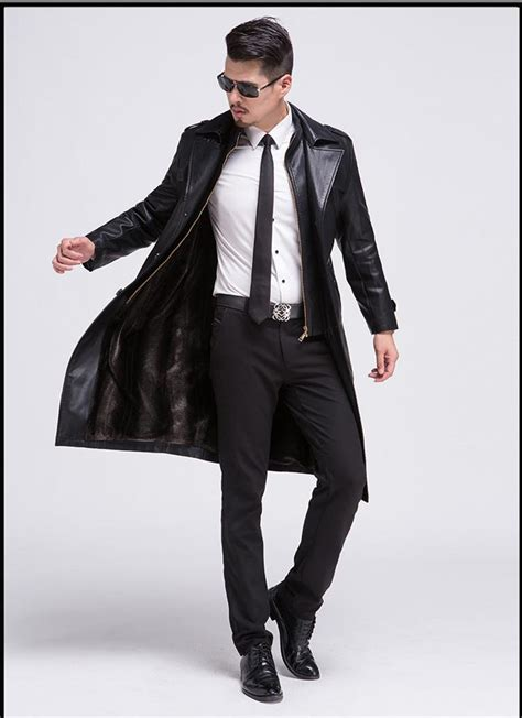 moda erkek deri ceket blazers siyah mens uzun deri