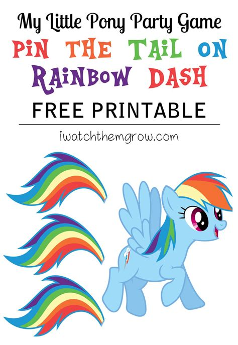 printable horse games pin the tail on rainbow dash free printable pony party