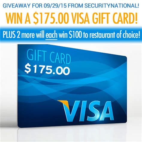 Visa Gift Card Restaurant - enter to win a 175 visa gift card or 1 of 2 100 restaurant of choice gift card
