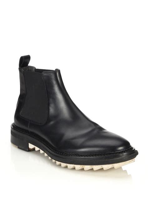 chealsea boots lyst lanvin abrazivato leather chelsea boots in black