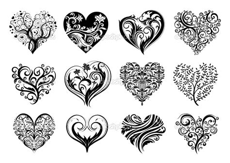 love heart design tattoos celtic infinity 12 hearts stock vector
