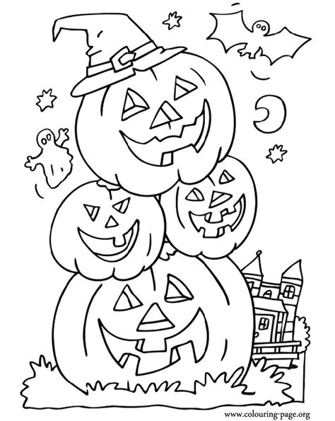 coloring pictures of scary pumpkins halloween bat ghost and halloween pumpkins coloring page