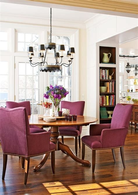 purple dining room dining room with purple chairs