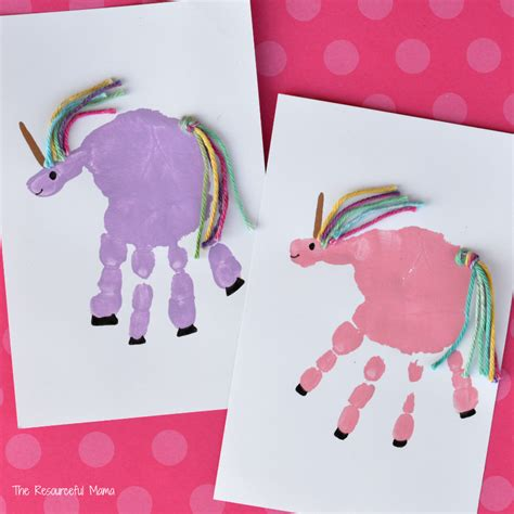 crafts unicorn handprint unicorn craft the resourceful
