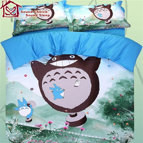 totoro bed sheets totoro bedding set 100 cotton 4pcs comforter cover bed