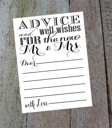 Wedding Advice And Well Wishes Cards by Advice And Well Wishes For The New Mr Mrs Comes With A 4