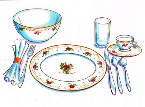 set the table in table set clipart collection