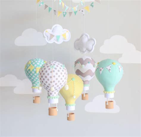 Balloon Nursery Decor Last One Gender Neutral Baby Mobile Air Balloon Travel Theme Nursery Decor Aqua Yellow