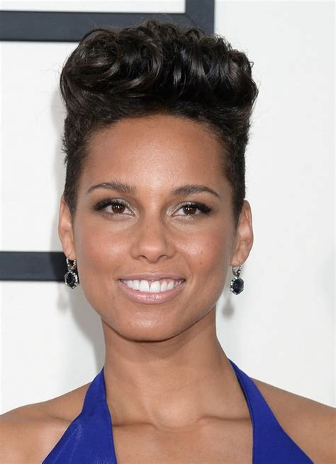 haircut for flathead women celebrity alicia keys short black curly flat top hairstyle