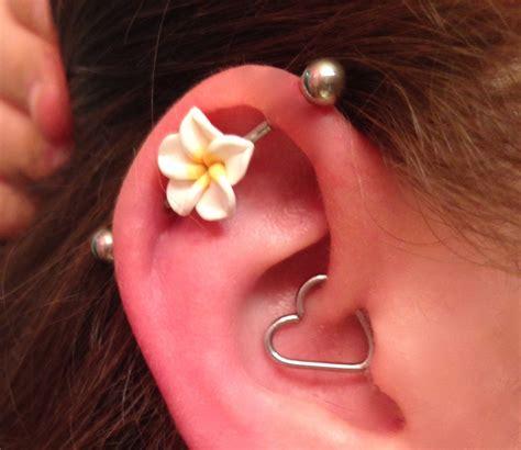 Top Ear Bar by Industrial Barbell 14g 16g Earring Choose Your Flower Bar
