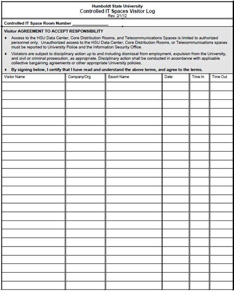 13 free sle visitor log templates printable sles
