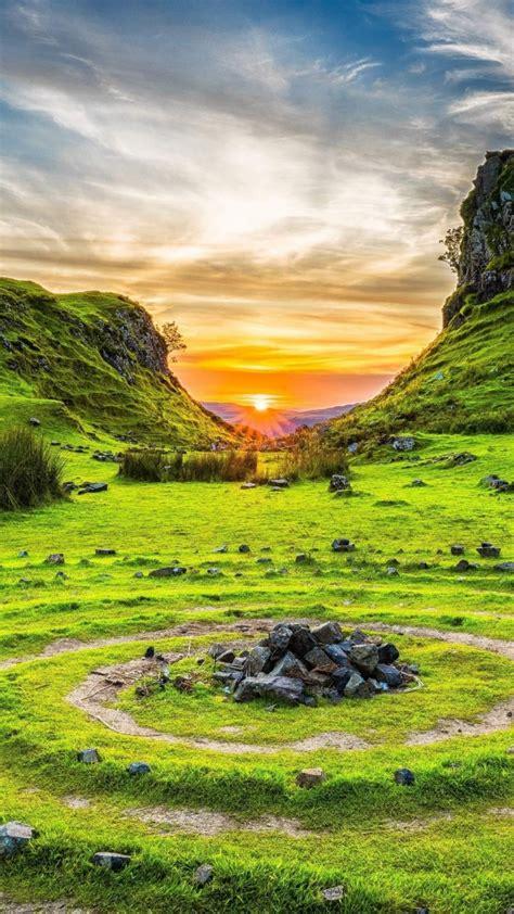 wallpaper fairy glen isle  skye scotland europe