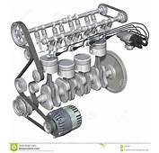 3D Illustration Of The Internal Parts A Four Stroke Petrol Engine