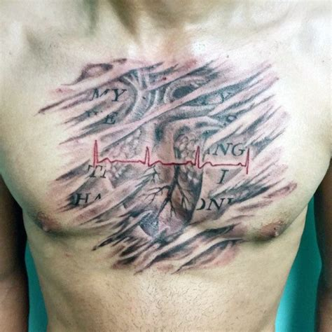 heartbeat tattoo on chest meaning 50 heartbeat tattoo designs for men electronic pulse ink