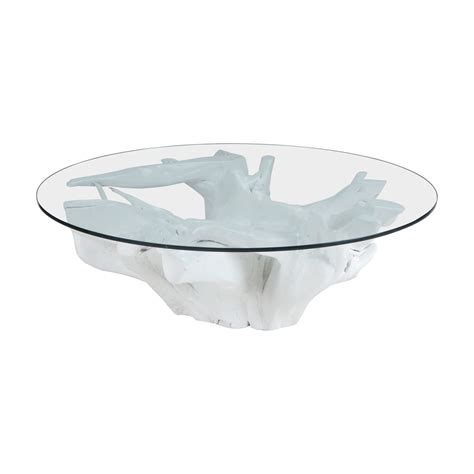 White Coffee Table With Glass Top White Finished Teak Root Coffee Table Glass Top Elk 7011 005