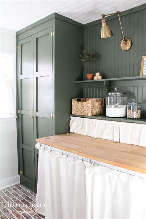 laundry room update  classic dark green sincerely