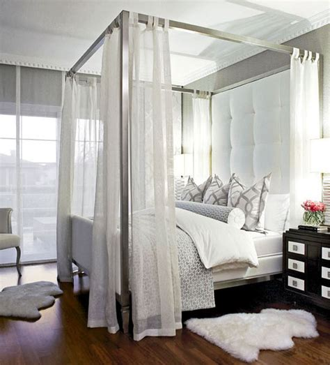 White Canopy Bed Big Headboard Contemporary Bedroom Traditional Home