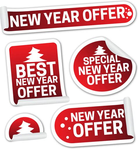new year promotion banner new year sale promotion shaped labels icons collection