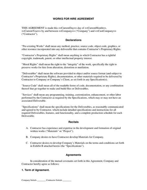 contract for hire template 881 best documents images on free