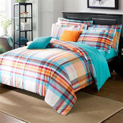grid pattern bedding uk blue orange stripes grid pattern duvet cover sanding