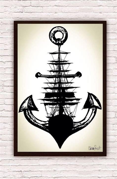printable anchor wall art sailing ship anchor poster print nautical wall art