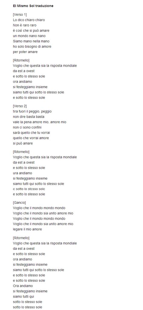 italiano testo traduzione testo el mismo sol alvaro soler lyrics