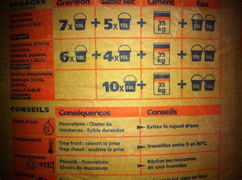 combien de sac de ciment pour 1m3 de béton 5263 sac 35 kg construction maison b 233 ton arm 233