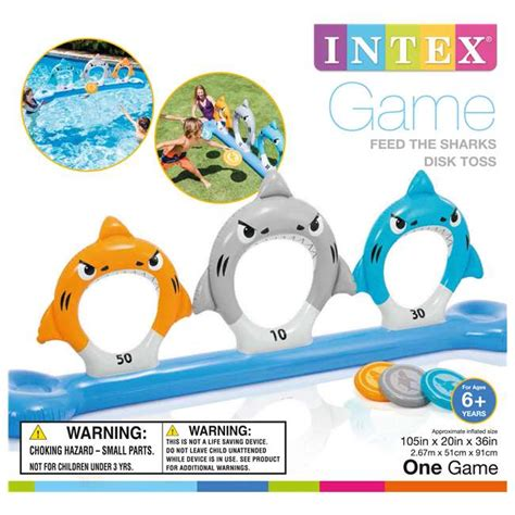 Intex Inflatable Feed the Sharks Disk Toss Pool Game : 57501EP