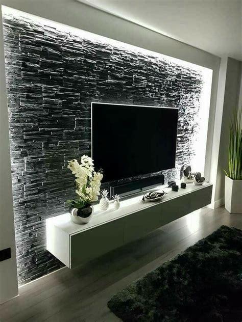 revestimientos de paredes  placas muros de piedra interiores decoracion de sala de tv