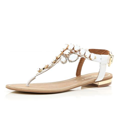 white embellished sandals lyst river island white gem embellished t bar