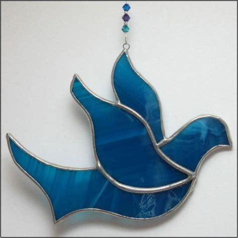 stained glass dove of peace christmas ornament free postage