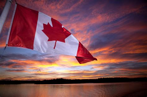 canadian boat flags canadian flag stock photo image of water canada sunset