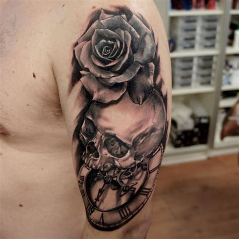 tattoo ideas near me 3d style black and white clock and skull on
