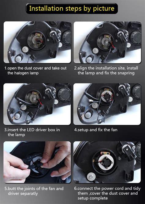 how to install led lights in car headlights h4 50w cree headlight l set led headls