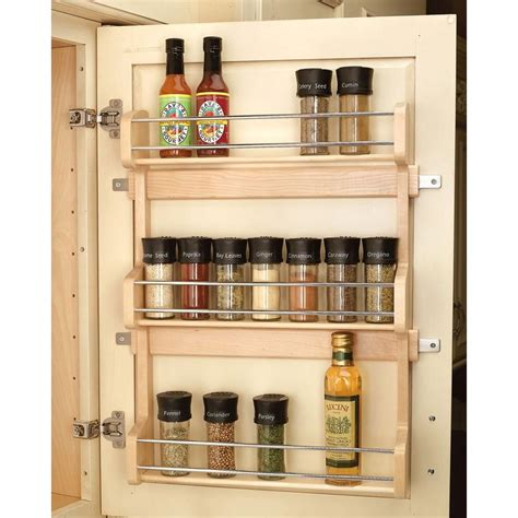 Cabinet Door Shelf Rev A Shelf 21 5 In H X 16 5 In W X 3 12 In D Large Cabinet Door Mount Wood 3 Shelf Spice