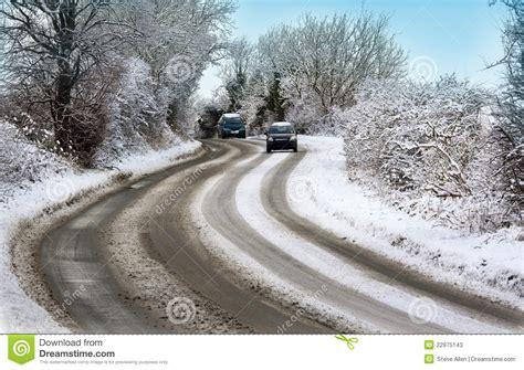 driving in conditions bad weather conditions winter driving uk stock photos