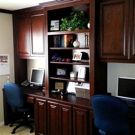 Custom Built Desks Home Office Custom Home Office Cabinets And Dual Desk Setup In Yorba C L Design Specialists Inc