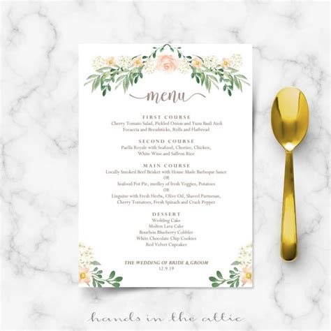 wedding dinner menu card template fall wedding menu template editable menu cards