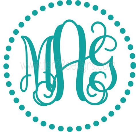 personalized monogram initial vinyl wall decal by five personalized circle monogram with dots border vinyl wall