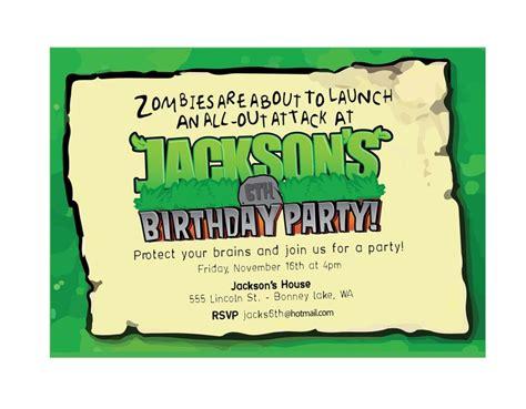 printable zombie birthday party invitations plants zombies party invitation printable birthday