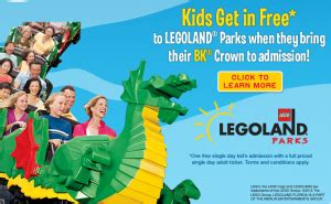 legoland: kids get in free with burger king crown and