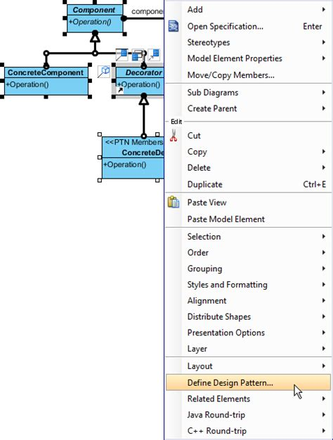 z layout definition working with decorator design pattern