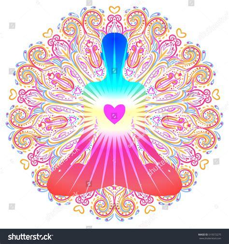 heart chakra concept inner love light stock vector